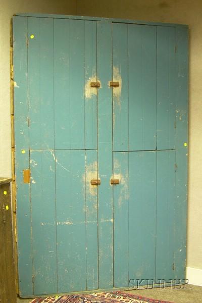 Blue-painted Beadboard Four-Door Corner Cupboard