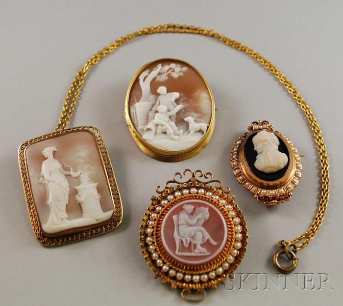 Four Cameo Jewelry Items