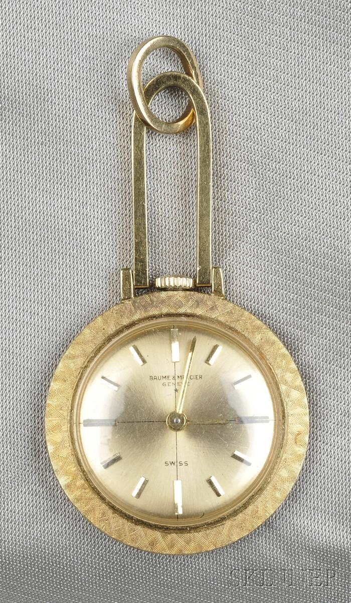 18kt Gold Pendant Watch, Baume & Mercier