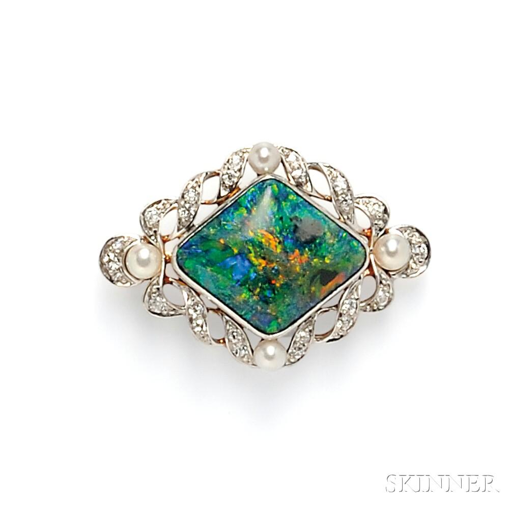 Edwardian Black Opal and Diamond Brooch, Allsopp & Allsopp