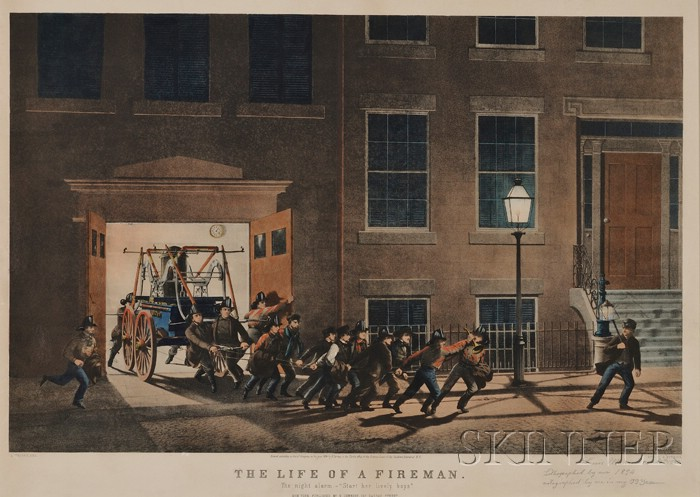 """Nathaniel Currier, publisher (American, 1813-1888)      THE LIFE OF A FIREMAN: The Night Alarm.- """"Start her lively boys.,"""""""