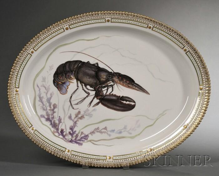 "Royal Copenhagen Porcelain ""Flora Danica"" Lobster-decorated Serving Platter"