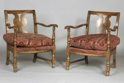 Pair of Continental Beechwood Armchairs