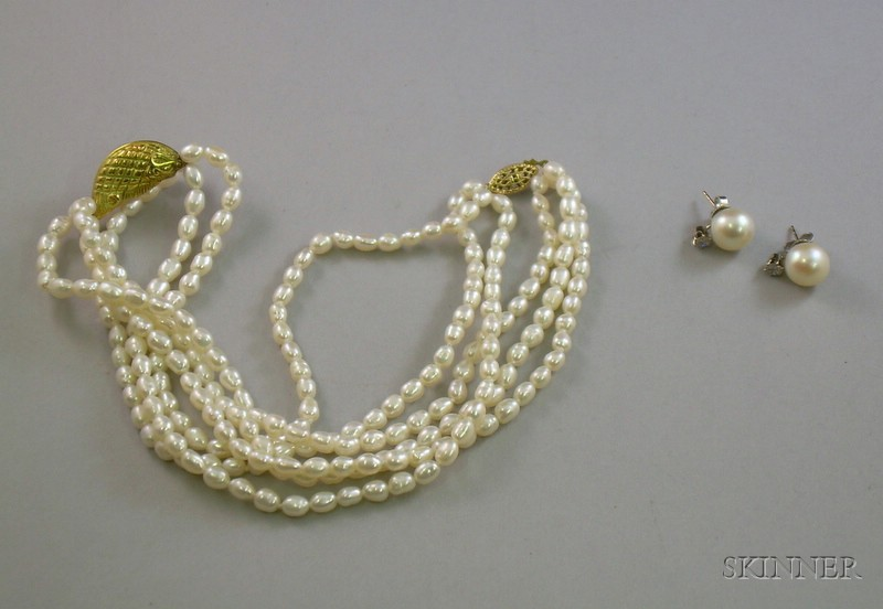 Freshwater Pearl and Gold Necklace and a Pair of Pearl and Diamond Stud Earrings.