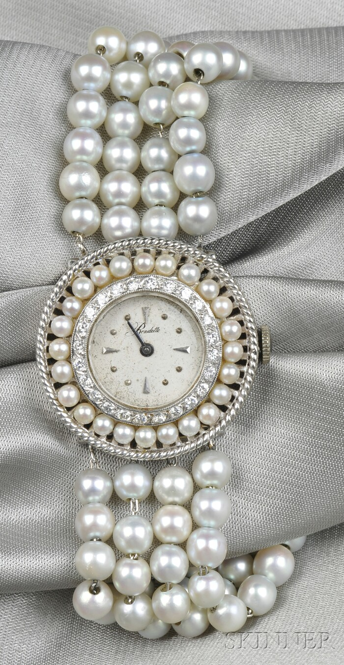 Lady's 14kt White Gold, Cultured Pearl, and Diamond Wristwatch