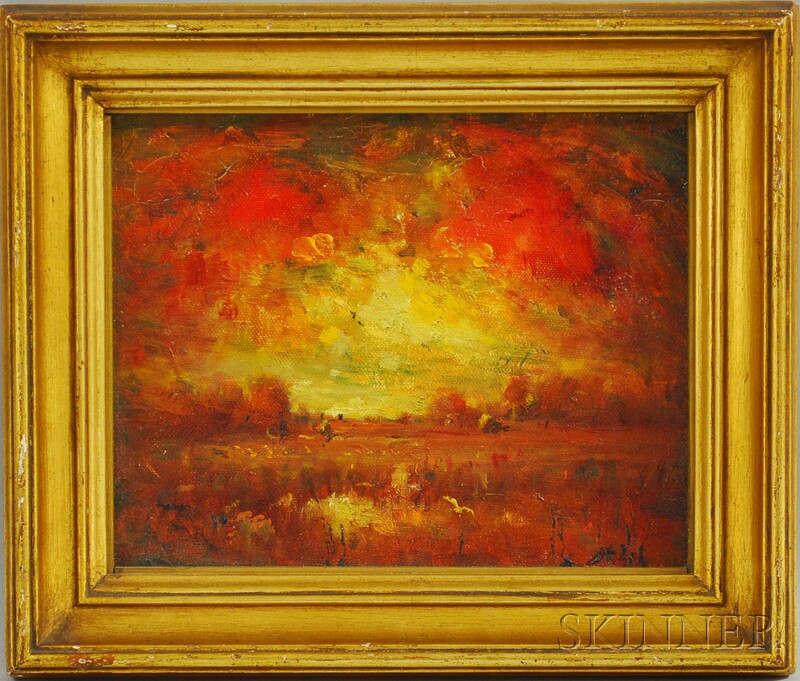 Henry Hammond Ahl (American, 1869-1953)      Fiery Sunset