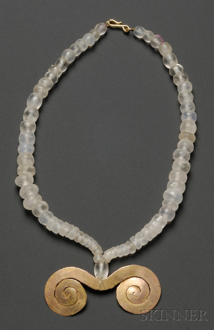 Pre-Columbian Rock Crystal Necklace with Gold Pendant