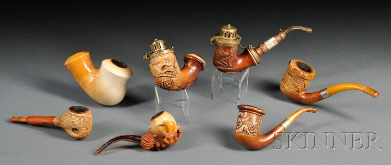 Seven Meerschaum Carved Pipes