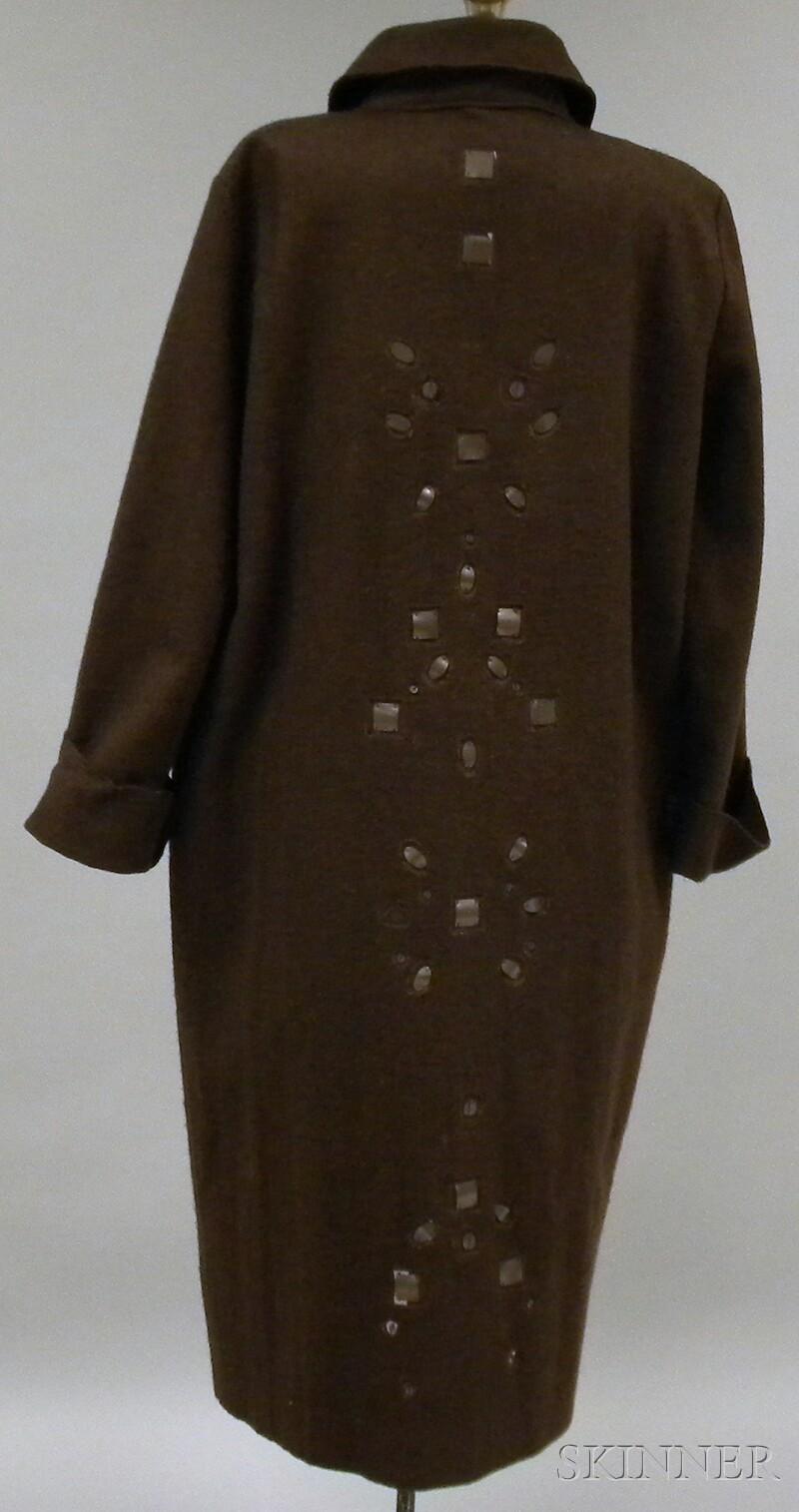 Gianfranco Ferre Brown Felted Wool Coat