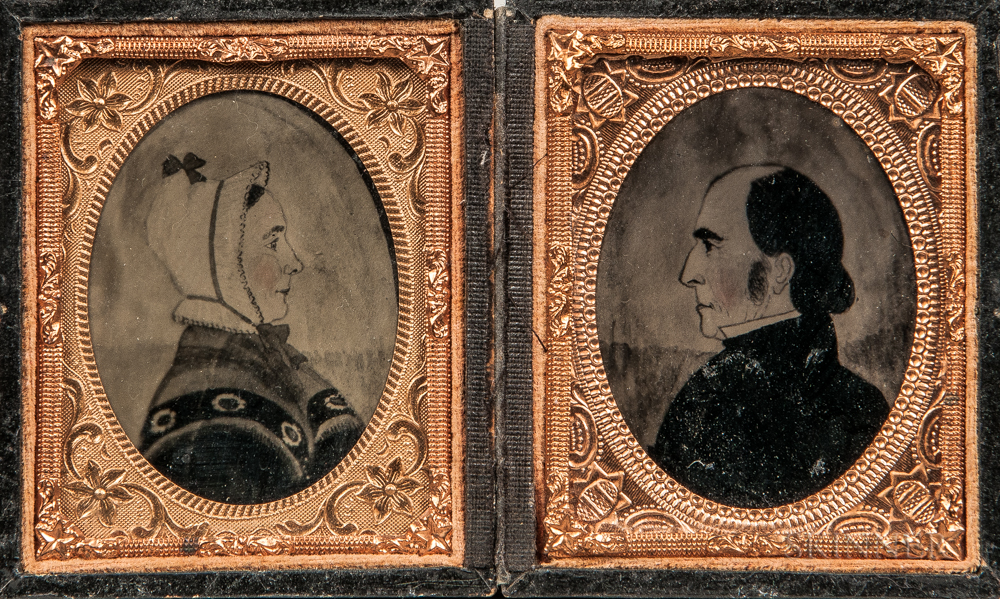 Pair of Ninth-plate Cased Ambrotype Photographs of Joseph H. Davis Watercolors