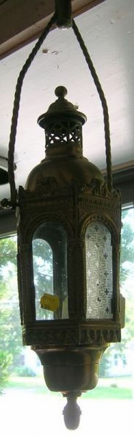 Pair of Moorish-style Brass Hanging Candle Lanterns with Acid-etched Panels.