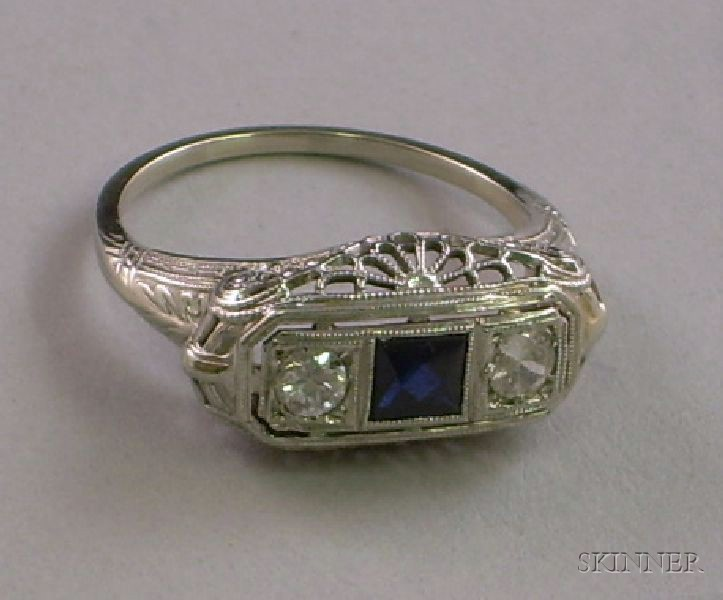 Art Deco 10kt White Gold, Blue Stone, and Diamond Ring
