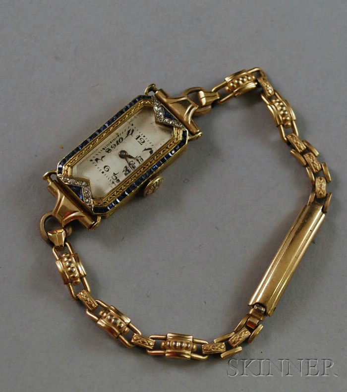 Art Deco 14kt Gold, Diamond, and Sapphire Lady's Wristwatch