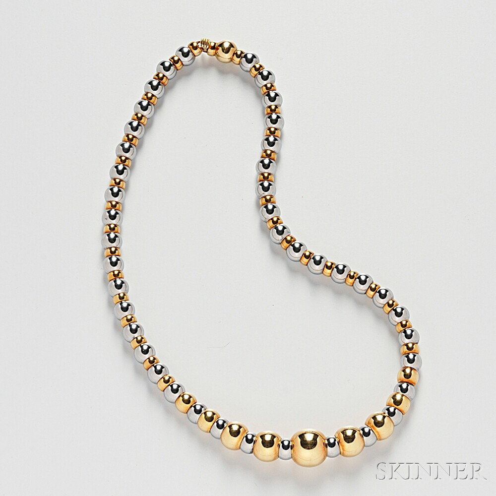 18kt Gold and Stainless Steel Bead Necklace, Marina B.