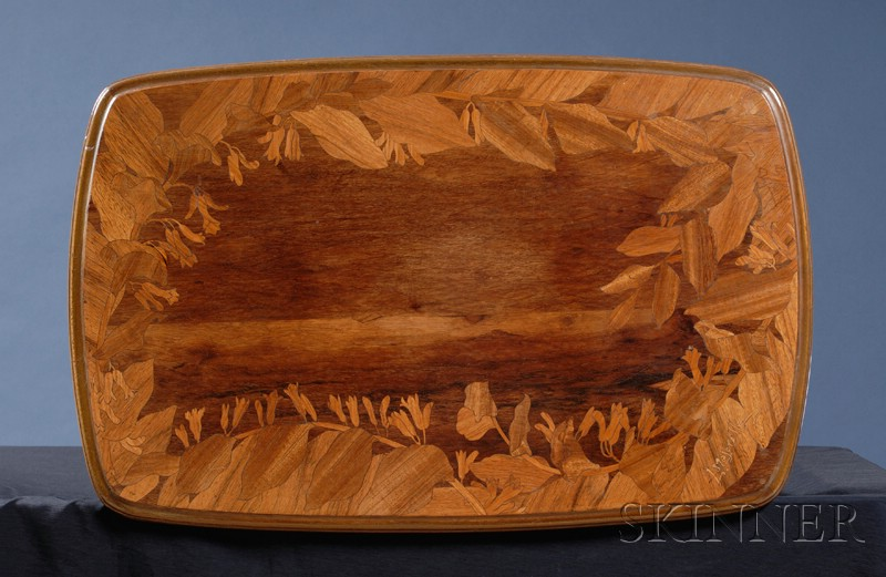 Majorelle Art Nouveau Fruitwood Marquetry-inlaid Walnut Side Table