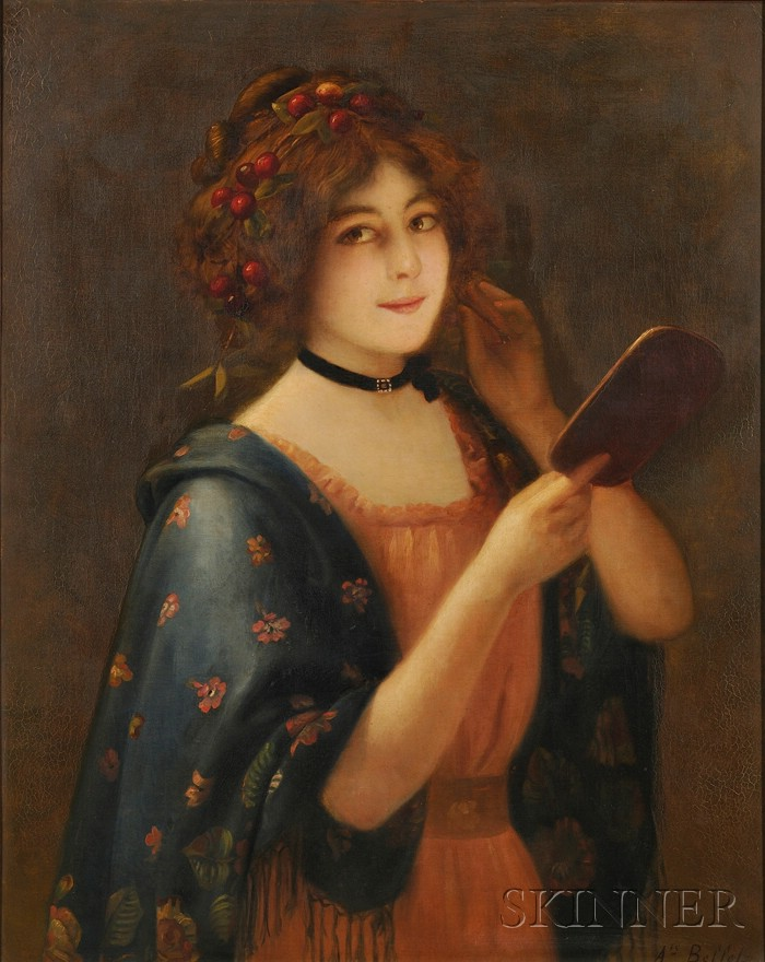 Auguste Émile Bellet  (French, 1856-1911)      Young Beauty Holding a Mirror