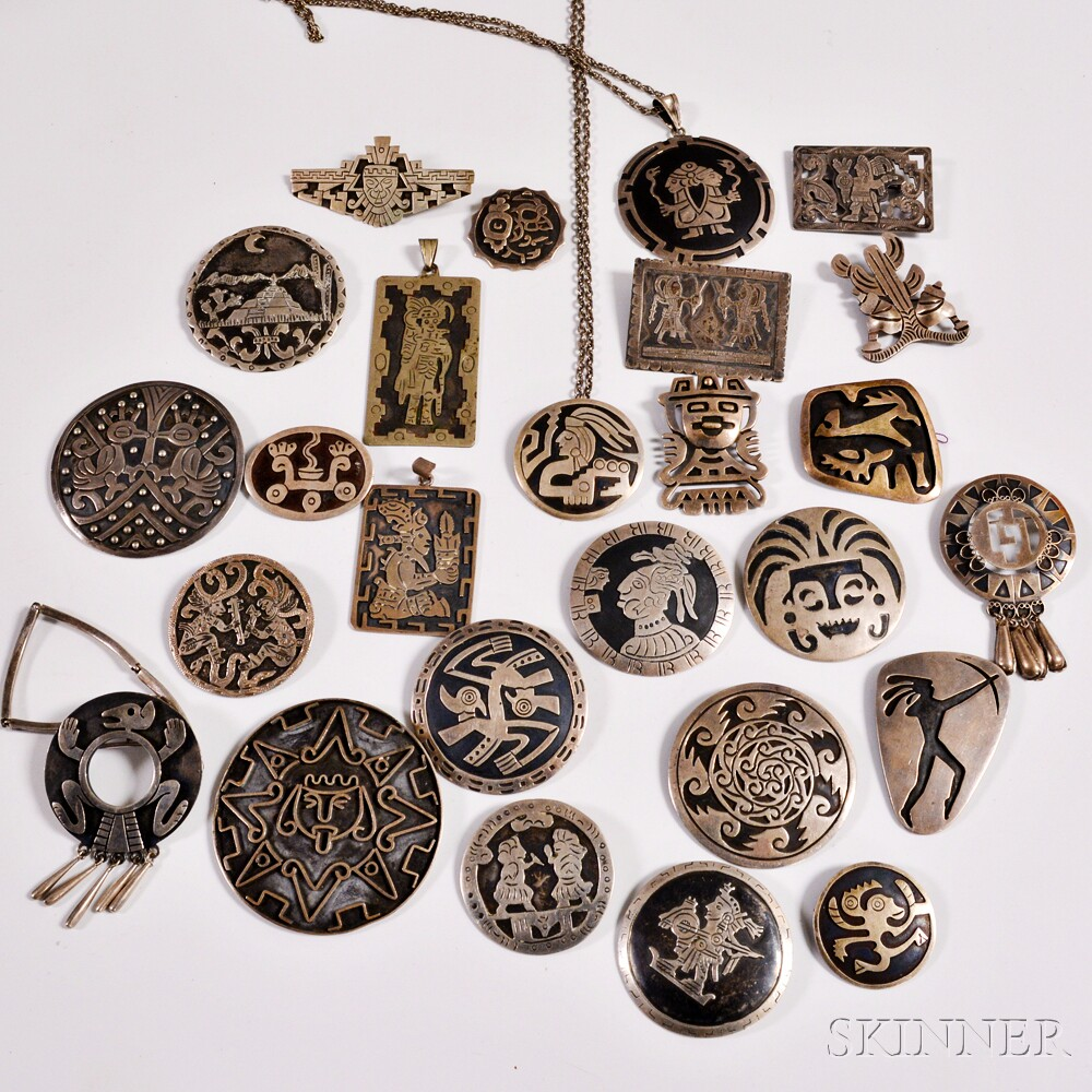 Twenty six mexican silver brooches and pendants sale number 2911t twenty six mexican silver brooches and pendants aloadofball Gallery
