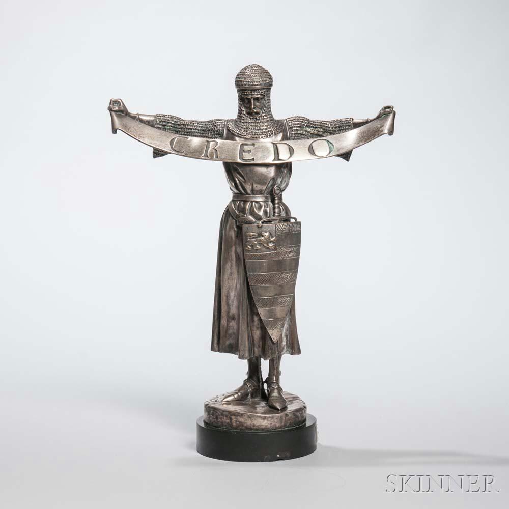 After Emmanuel Fremiet (French, 1824-1910)       Barbedienne Silvered Bronze Figure of Credo