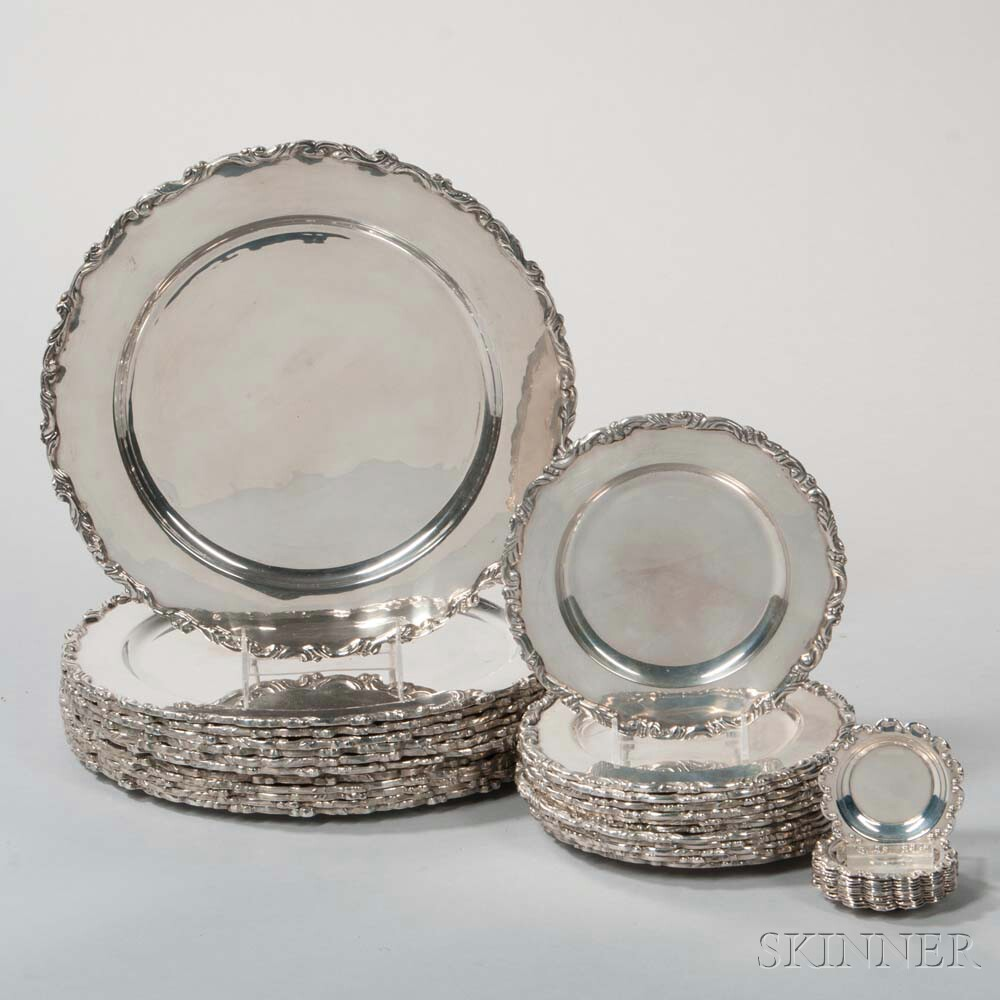 Thirty-six Mexican Sterling Silver Dishes