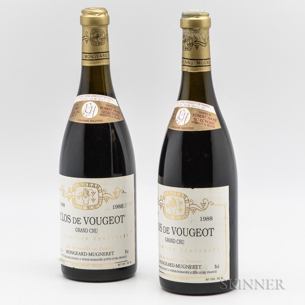 Mongeard Mugneret Clos Vougeot 1988, 2 bottles