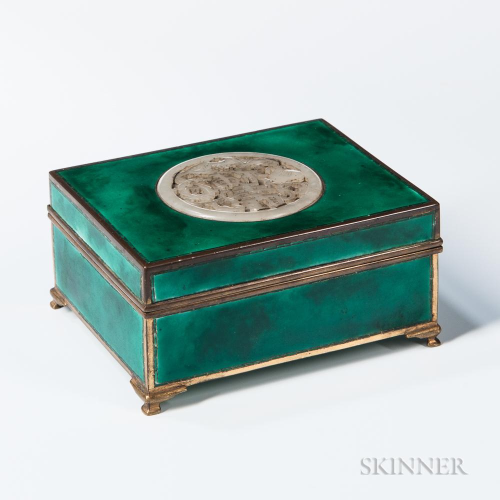 Enameled Metal and Jade Box
