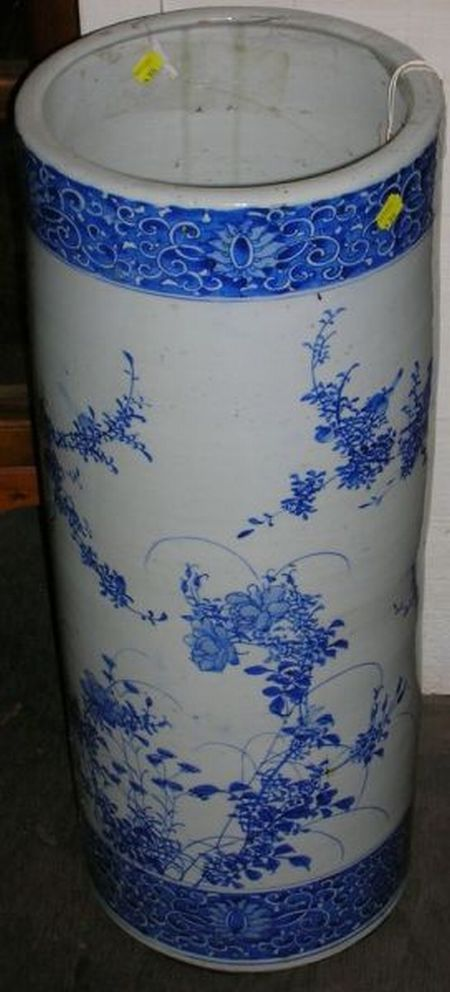 Japanese Blue and White Hand-painted Porcelain Umbrella Stand