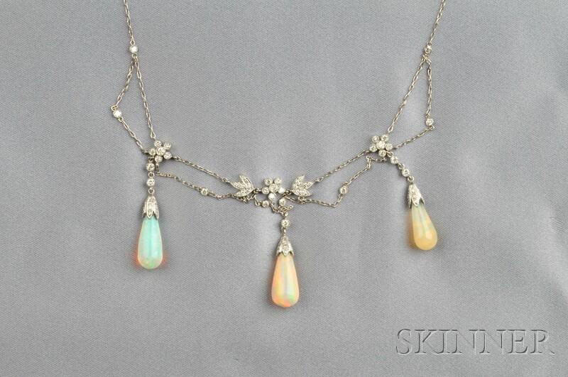 Platinum, Opal, and Diamond Festoon Necklace