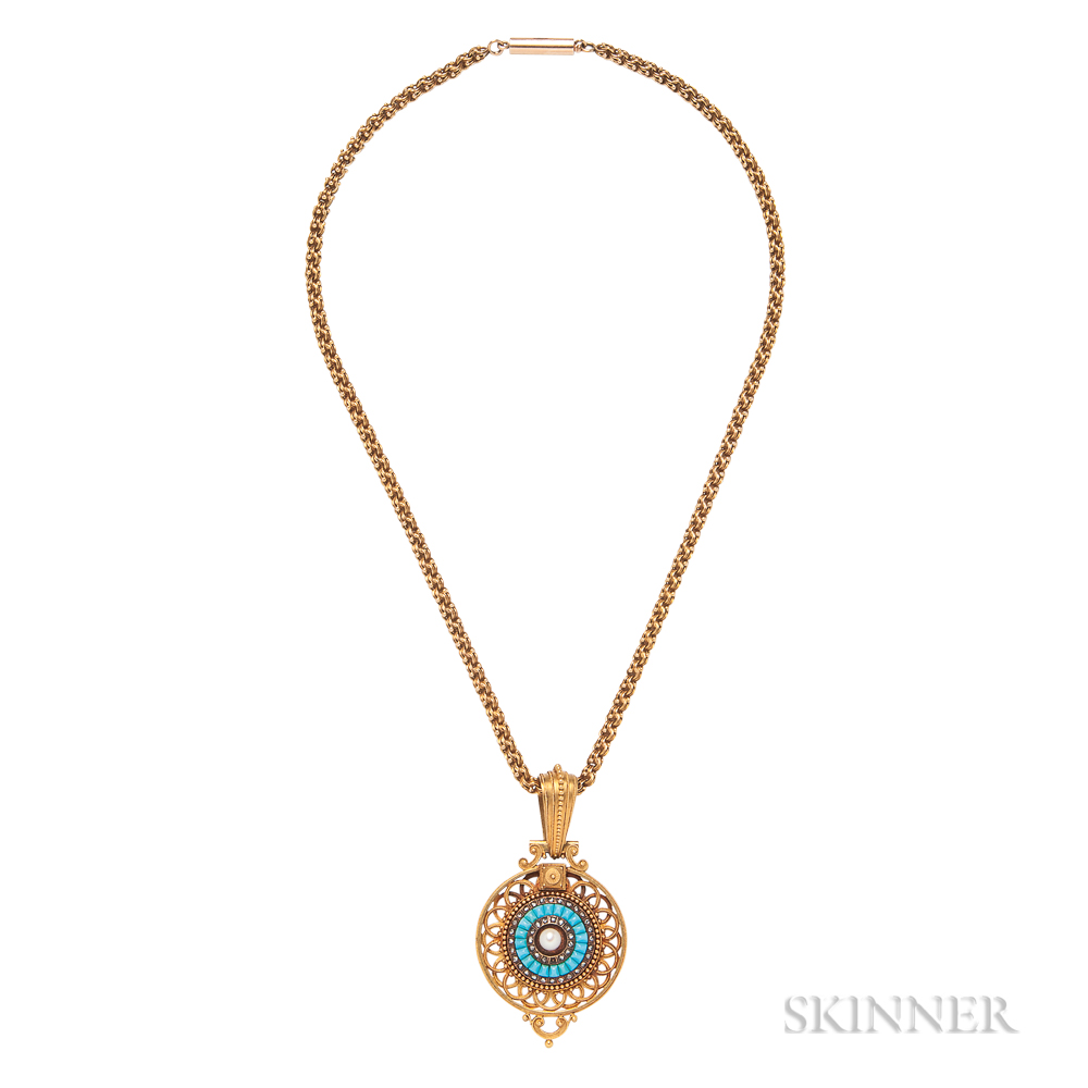 Antique Gold and Turquoise Locket
