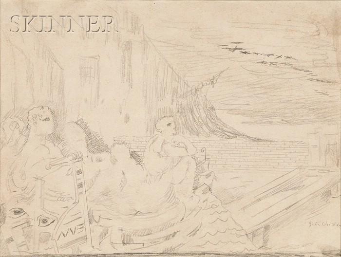 Giorgio De Chirico  (Italian, 1888-1978)      Untitled Landscape with Petrified Boat and Figures [The Dioscuri], c. 1925