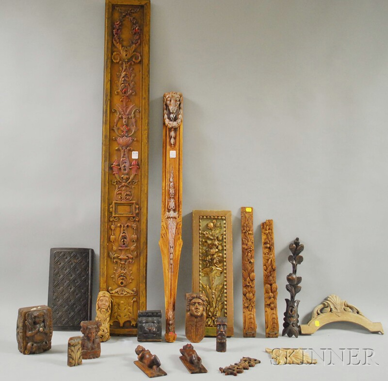 Nineteen Assorted Carved Wood Fragments