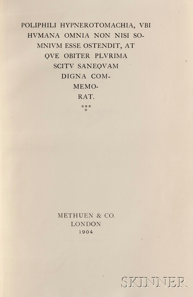Colonna, Francesco (1433-1527) Poliphili Hypnerotomachia