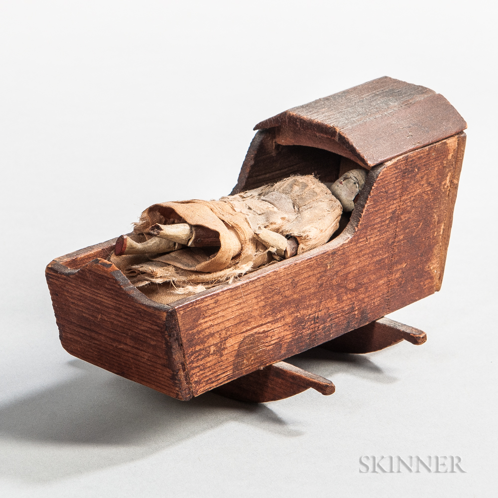 Miniature Cradle and Doll