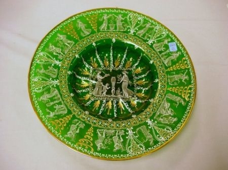Classical Revival Enamel Decorated and Printed Green Glass Charger.