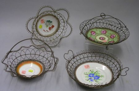 Four Wire Baskets with Porcelain Dish Inserts.