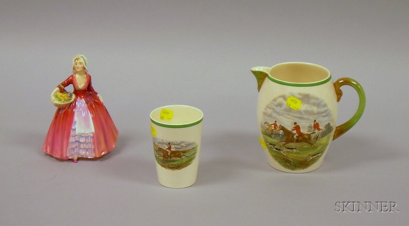 Copeland Spode/J.F. Herring Hand-colored Transfer Hunt Scene Jug and Beaker, and   a Royal Doulton Porcelain Janet Figural