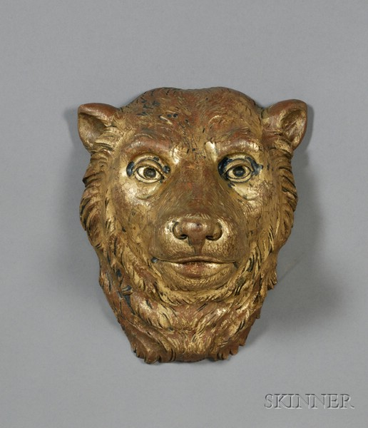 Carved and Gilded Wooden Bear Head Wall Plaque