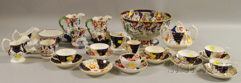 Twenty-six Pieces of Gaudy Staffordshire Tableware