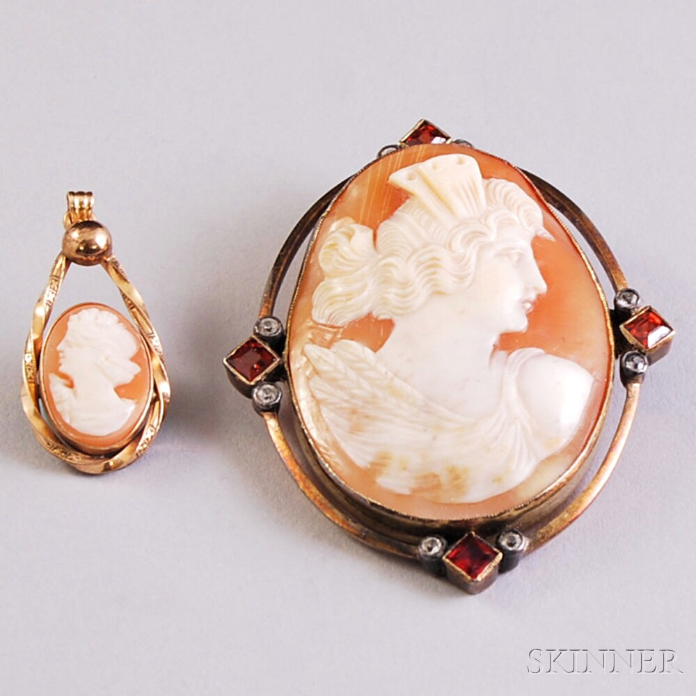 Two Gold-framed Shell-carved Cameo Jewelry Items