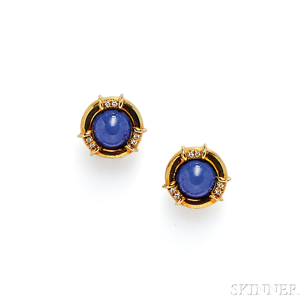 18kt Gold, Lapis, and Diamond Earclips, Tiffany & Co.