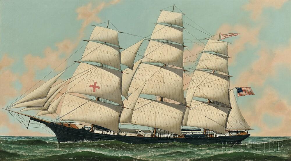 "Antonio Jacobsen (Danish/American, 1850-1921)      The Ship ""Dreadnaught"" Under Full Sail in Open Water"