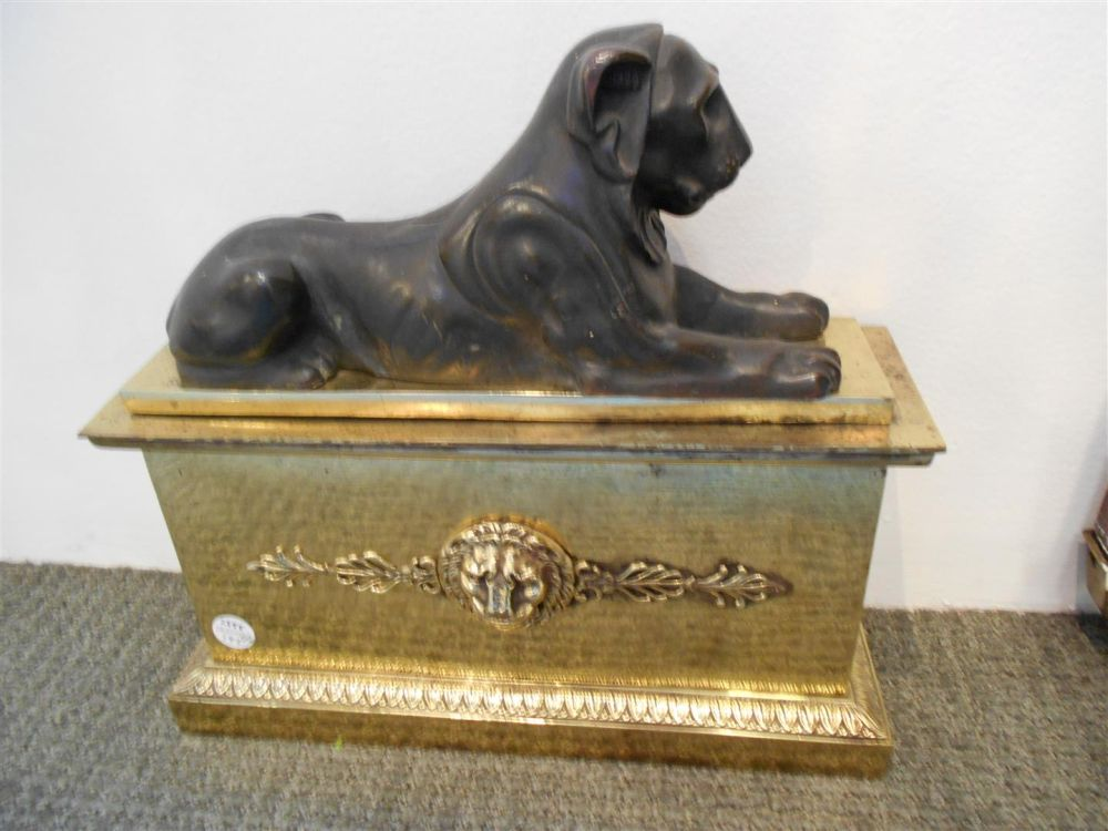 Pair of Brass Mounted Cast Bronze Egyptian Revival Fire Dogs