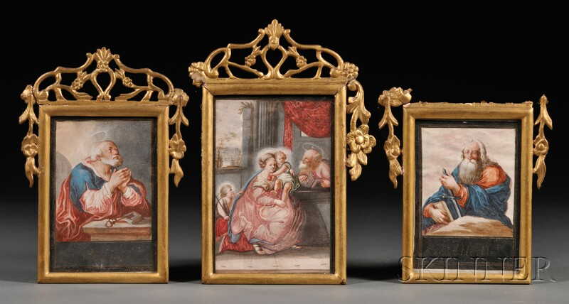 Three Framed Religious Works on Paper