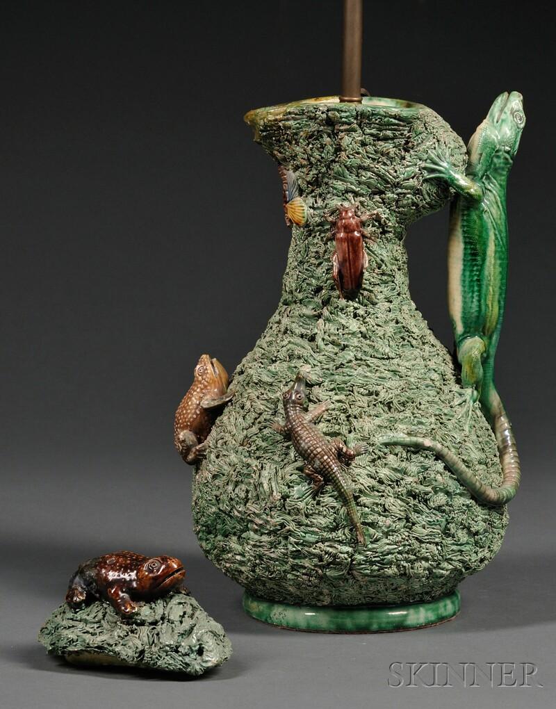 Palissy-style Ceramic Jug-form Lamp Base