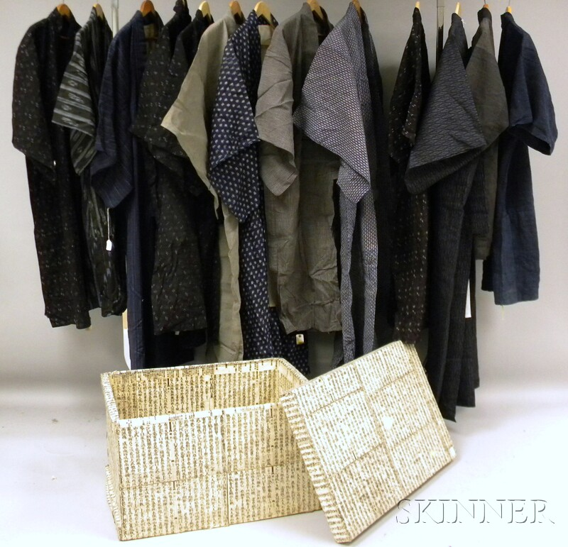 Box of Japanese Okinawa Ikat Textiles/ Kimonos