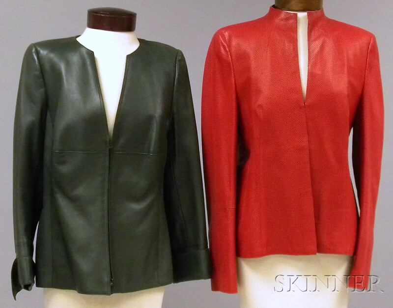 Two Akris Leather Jackets