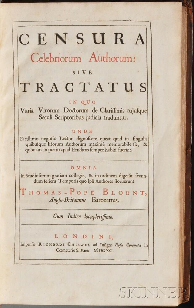 Blount, Sir Thomas Pope (1649-1697) Censura Celebriorum Authorum