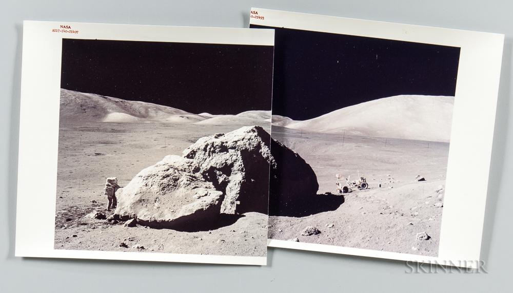 Apollo 17, Tracy's Rock, December 13, 1972, Two Photographs.