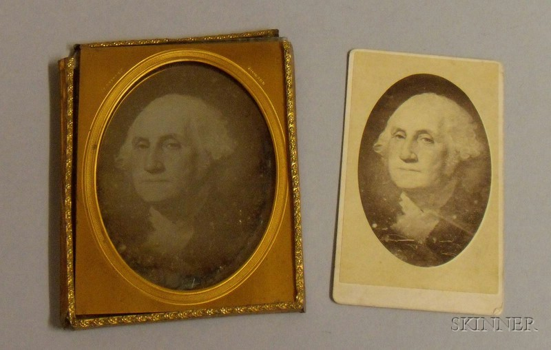Carte de Visite Depicting George Washington and a Daguerreotype Depicting a Print Rendering of George Washingto...
