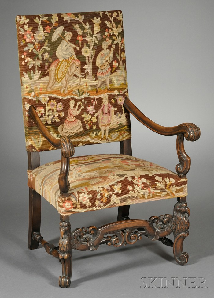 "Continental Baroque-style Gros and Petit-point Upholstered ""Great Chair"""