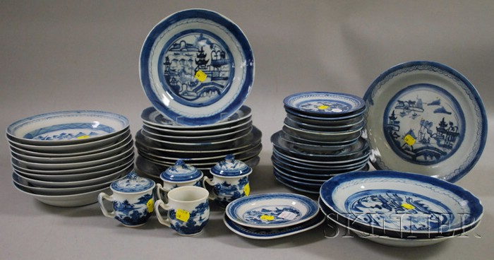 Forty-five Pieces of Chinese Export Porcelain Canton Tableware